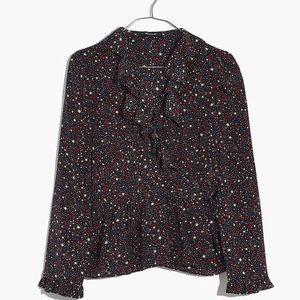 Madewell Silk Ruffle-Hem Wrap Top in Starry Night